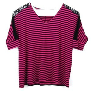 Torrid Size 4 Top Stripes Laced Batwing